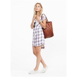 Turn-down Collar Lace-up Plaid Dress