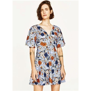V Neck Floral Printed Backless Short Sleeve Dress