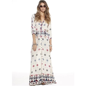 V Neck 3/4 Sleeve Split Bohemian Printed Maxi Dress