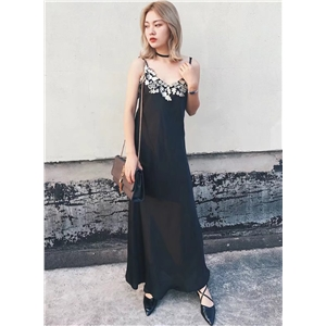 Spaghetti Strap Floral Lace Embroidery Maxi Dress