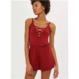 V Neck Cross Strap front Solid Romper