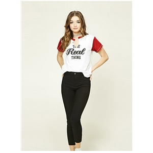 V Neck Letter Print Loose Tee shirt