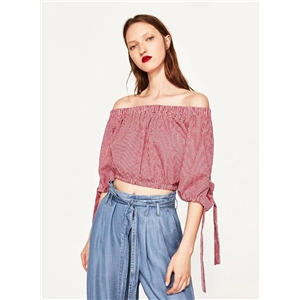 Slash Neck Off Shoulder Plaid Blouse