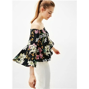 Slash Neck Flare Sleeve Chiffon Blouse