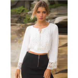 Long Sleeve Floral Lace Cropped Blouse