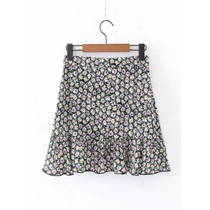 High Waist Chrysanthemum Print Skirt