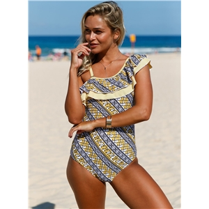 Stylish Print Ruffle One Shoulder Teddy Swimsuit