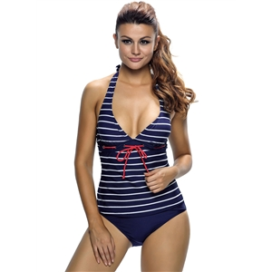 Nautical Striped 2pcs Halter Tankini Swimsuit