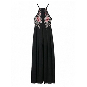 Black Floral Embroidery Cross Back Split Maxi Dress