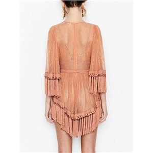 Pink Sheer Lace Cami Lining Tassel Detail Romper Playsuit