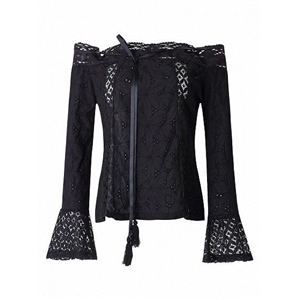 Black Off Shoulder Bell Sleeve Cutwork Lace Panel Top