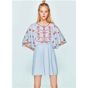 Casual Loose Fit Embroidery Mini Dress