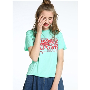 Short Sleeve Letter Printed Loose Fit  Tee