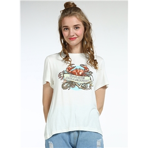 Casual Cartoon Printed Short Sleeve Loose Fit Tee