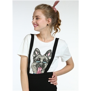 Short Sleeve Cartoon Dog Printed Loose Fit Tee