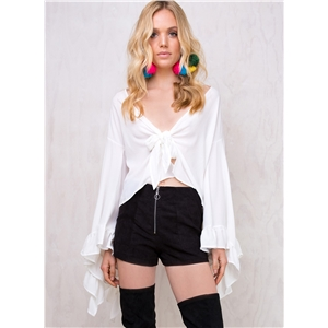V Neck Long Flare Sleeve Knot Blouse