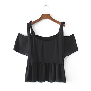 Off Shoulder Flounce Panel Blouse