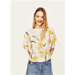 Floral Print Batwing Sleeve Blouse