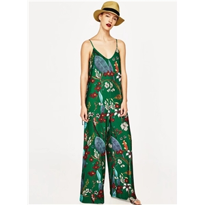 Spaghetti Strap Sleeveless Floral Printed Wide Jumpsuit