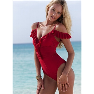 Spaghetti Strap Ruffle One Piece Swimsuit