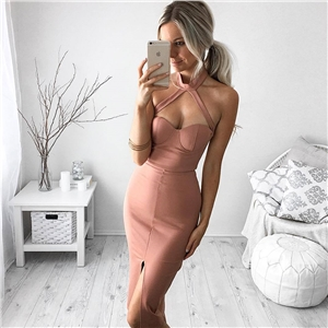 Hanging neck sexy backless dress
