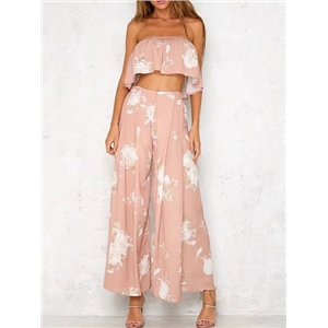 Pink Floral Off Shoulder Crop Top And High Waist Wide Leg Palazzo Pants