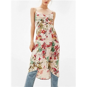 Polychrome V-neck Floral Spaghetti Strap Dipped Hem Dress