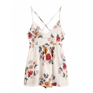 White V-neck Floral  Printed Spaghetti Strap Cross Back Romper Playsuit