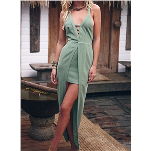 Light Green Plunge V-neck Ladder Strap Cross Back Party Dress with Long Overlay