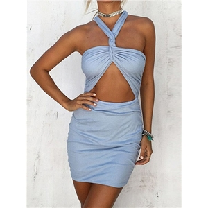 Light Blue Halter Twist Open Belly Cross Back Mini Bodycon Dress