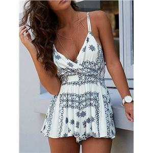 White Wrap V-neck Tile Printed Spaghetti Strap Cross Back Romper Playsuit