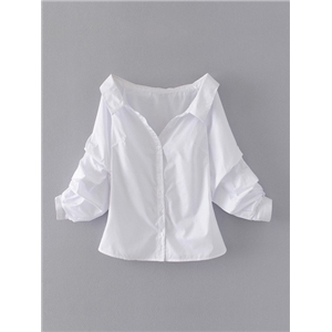 White Stripe Pointed Collar V Front Puff Sleeve Shirt Top