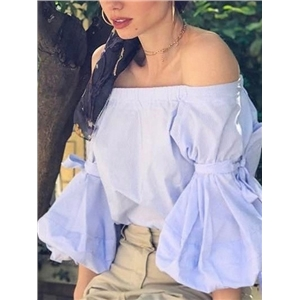 Blue Off Shoulder Tied Puff Sleeve Top