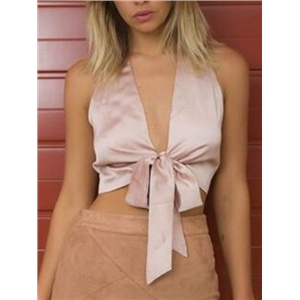 Pink Plunge Neck Sleeveless Bow Tie Satin Crop Top