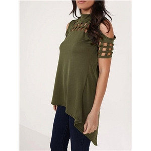 Green High Neck Lattice Cut Out Split Back Cold Shoulder Top
