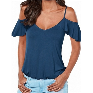 Navy Cold Shoulder Cross Strappy Back Ruffle Sleeve Cami Top