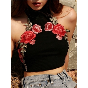 Black Turtle Neck Floral Embroidery Ribbed Crop Top