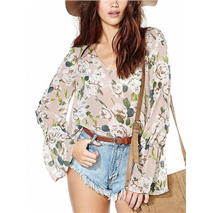 Polychrome Floral V-neck Flared Sleeve Chiffon Blouse