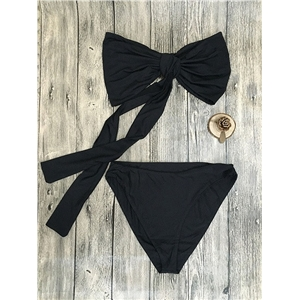 Fashion Black Knot Tie Bandeau Bikini Top And Bottom