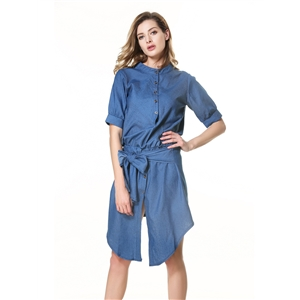 Irregular lace up denim dress