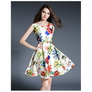 Fashion print sleeveless dress
