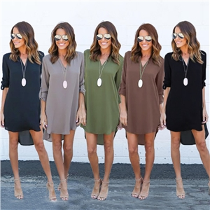 Long sleeved V Collar pure colour Chiffon Dress