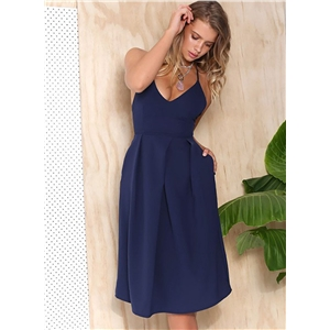 Solid V Neck Sleeveless Backless A-line Party Dress