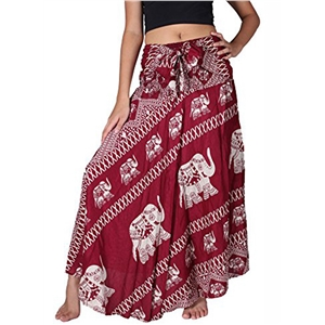 High Waist Elephant Printed Maxi Loose Fit Skirt