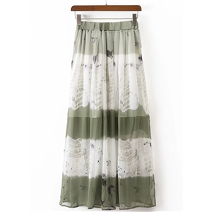 High Waist Printed Maxi Pleated Skirt