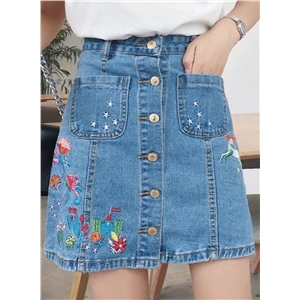 Floral Embroidery Button front A-line Mini Skirt