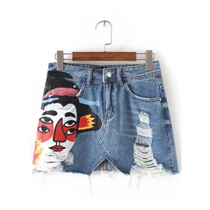 Cartoon Printed Ripped Denim Mini Skirt