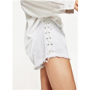 Fashion Solid Side Lace up Denim Shorts