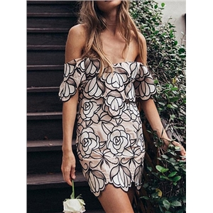 Pink Off Shoulder Embroidery Floral Bodycon Mini Dress