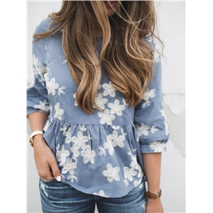 Blue Embroidery Floral Ruffle Dipped Hem  Blouse